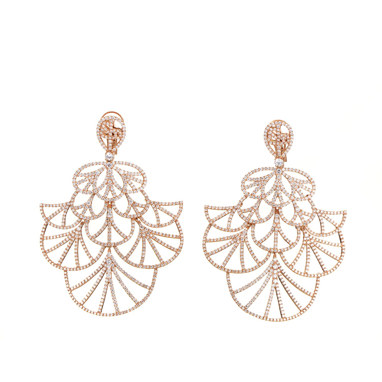 Women's 18K Rose Gold Diamond Pave Lace Chandelier Earrings