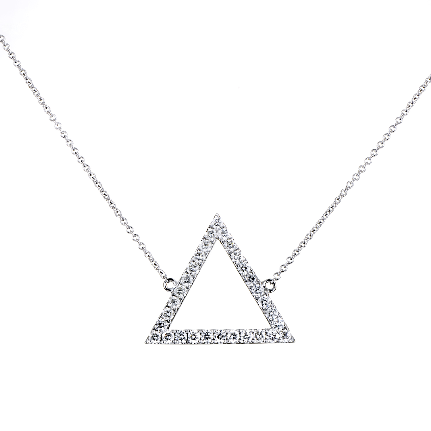 Women's 18K White Gold Diamond Pave Triangle Pendant Necklace