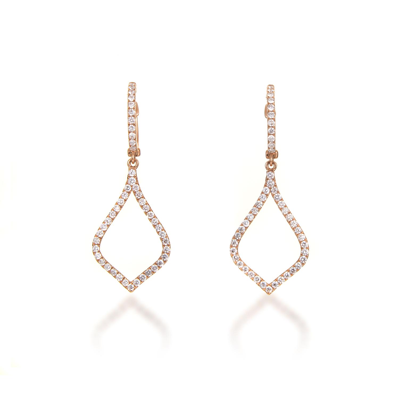 Women's 18K Rose Gold Diamond Pave Almond Drop Earrings AER-10101R