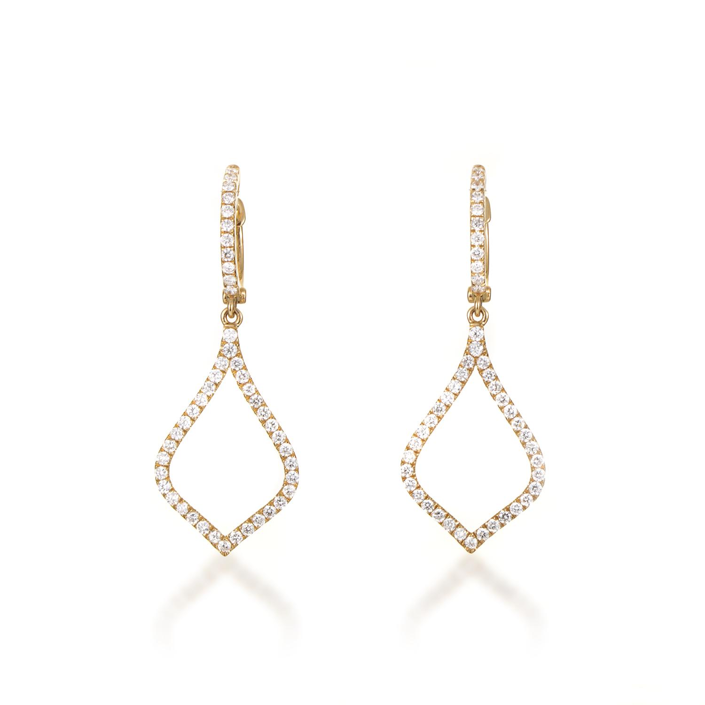 Women's 18K Yellow Gold Diamond Pave Teardrop Dangle Earrings AER-10101Y