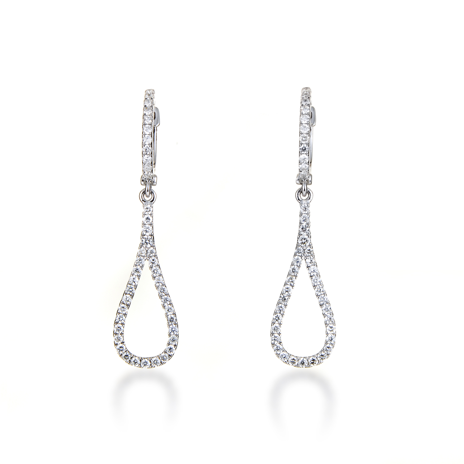 Women's Thin 18K White Gold Diamond Pave Teardrop Earrings