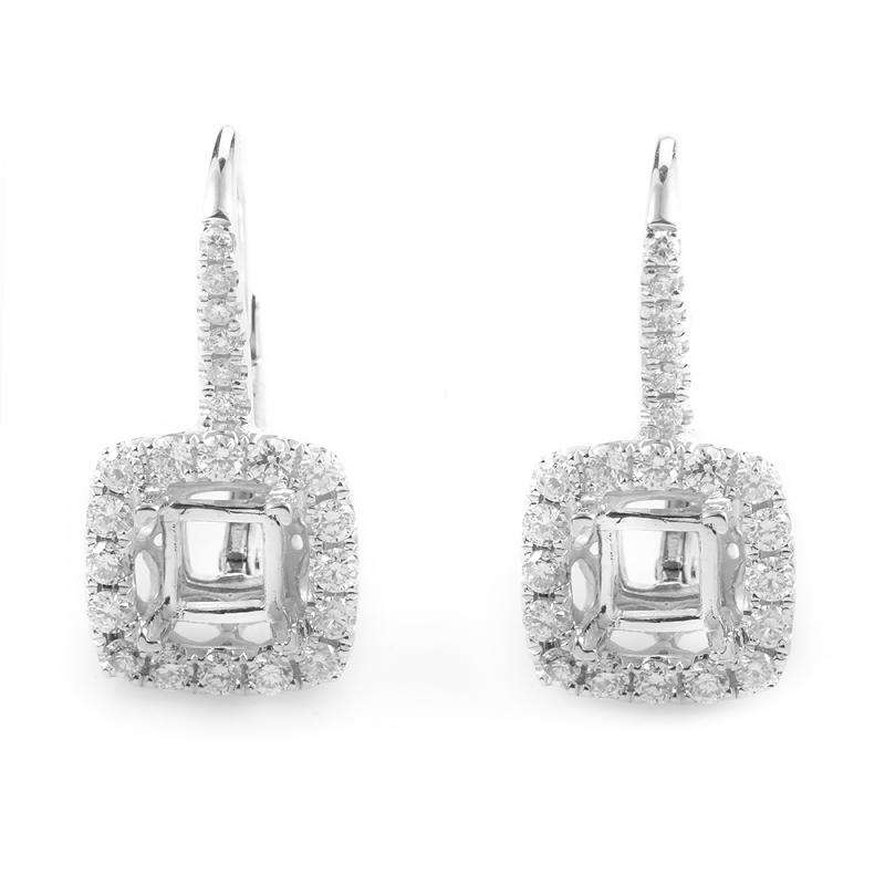 Women's 18K White Gold Diamond Pave Mounting Earrings AER-10332W