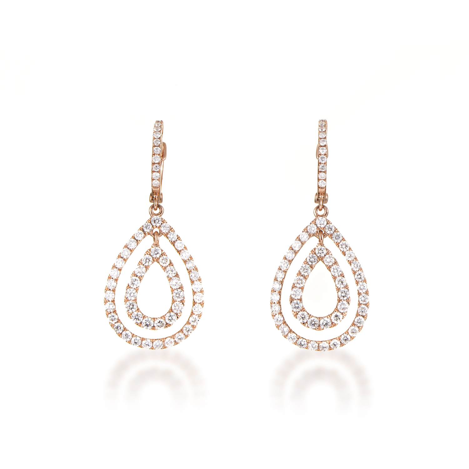 Women's 18K Rose Gold Diamond Pave Multi-Teardrop Dangle Earrings