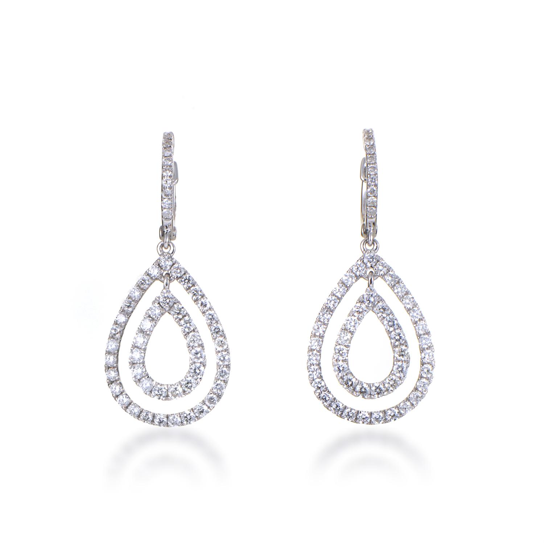 Women's 18K White Gold Diamond Pave Multi-Teardrop Dangle Earrings