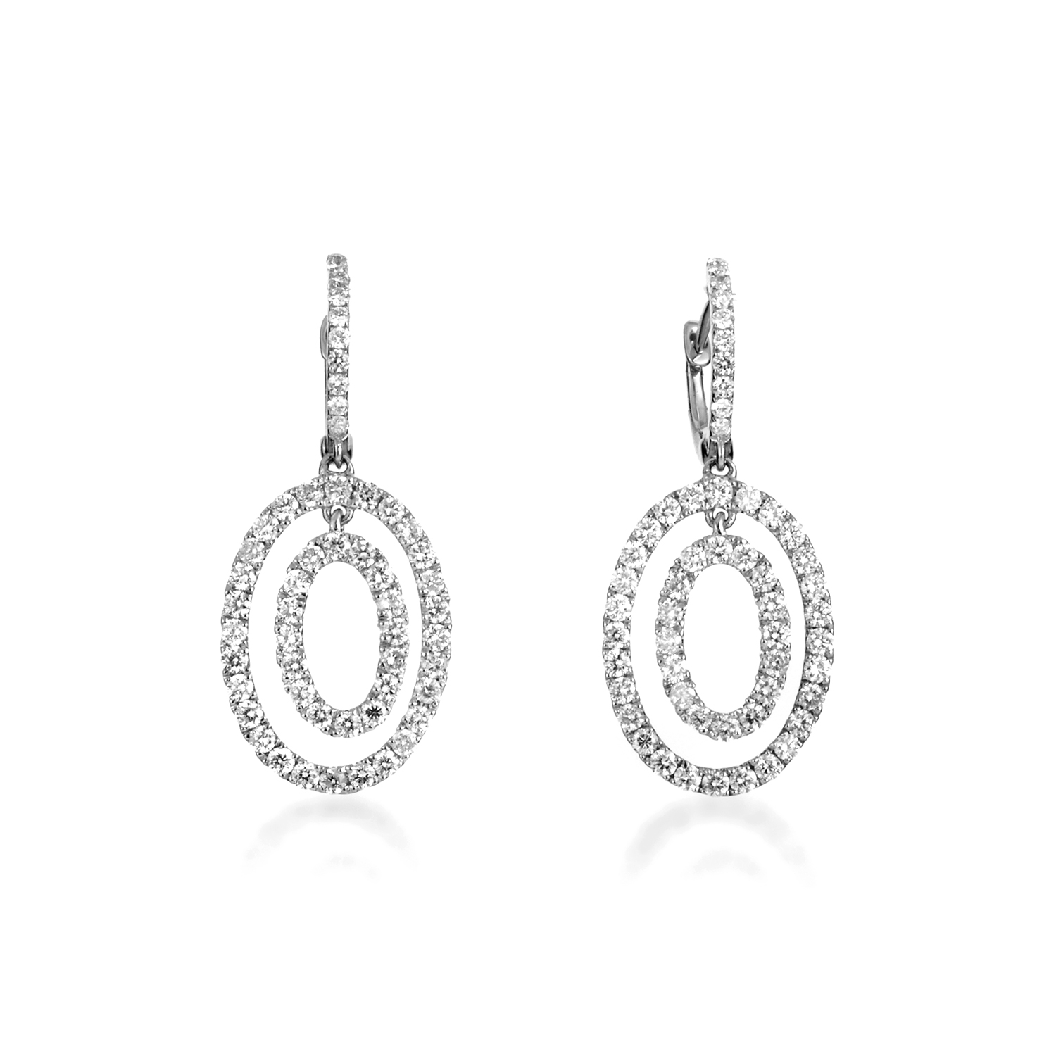 Women's 18K White Gold Diamond Pave Multi-Oval Dangle Earrings