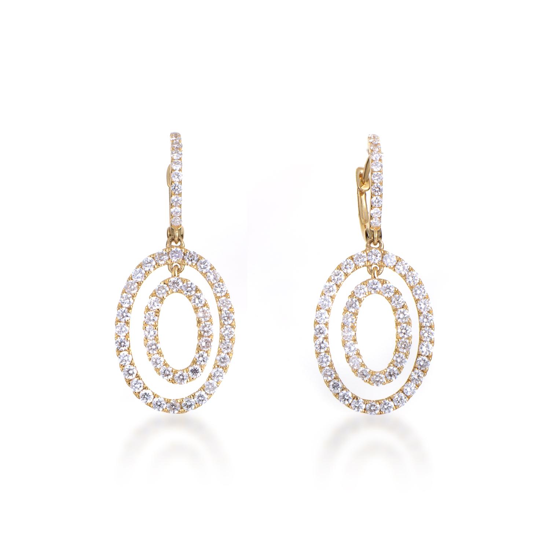 Women's 18K Yellow Gold Diamond Pave Multi-Oval Dangle Earrings
