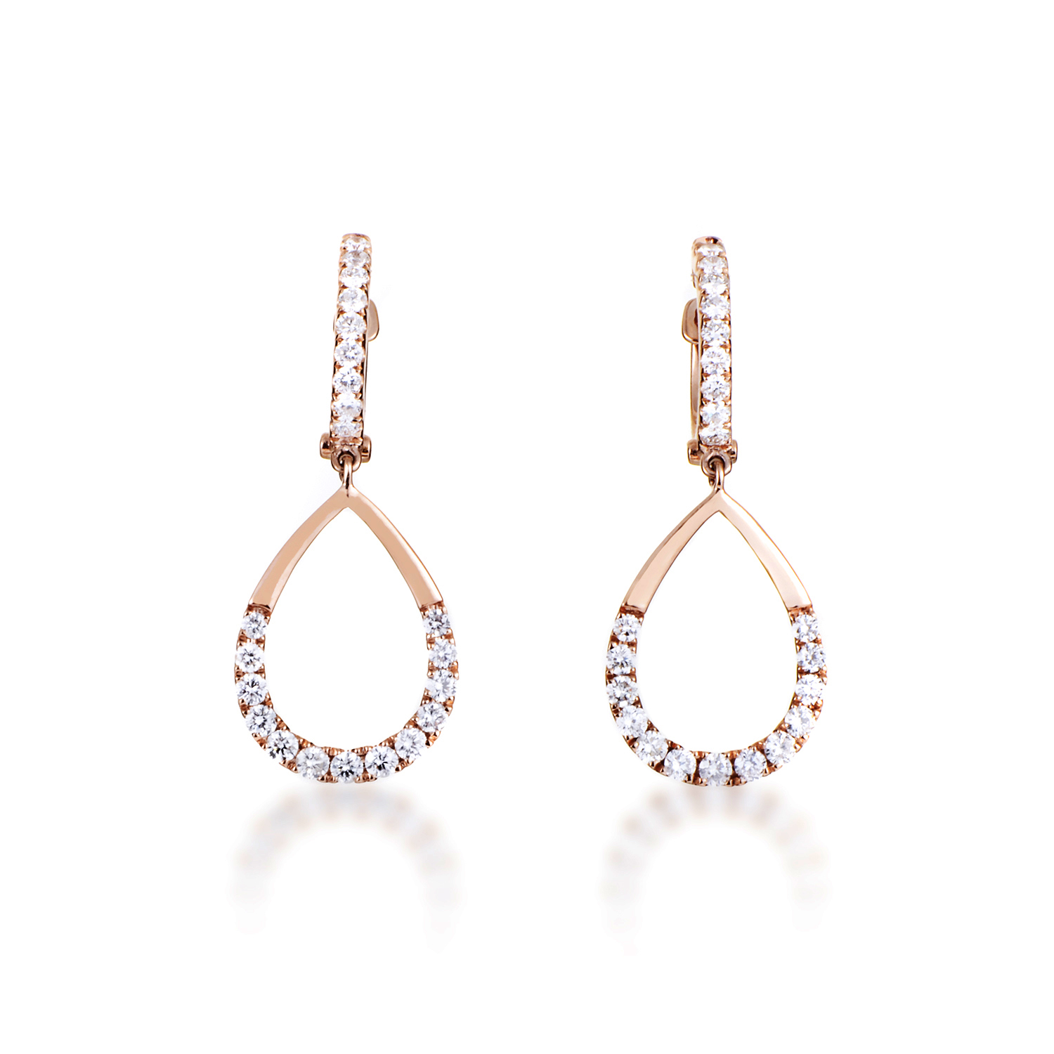 18K Rose Gold Partial Diamond Pave Teardrop Dangle Earrings AER-11050R