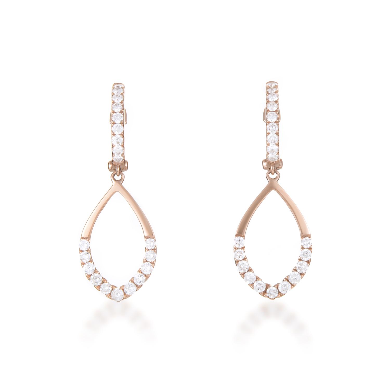 Women's 18K Rose Gold Partial Diamond Pave Teardrop Dangle Earrings
