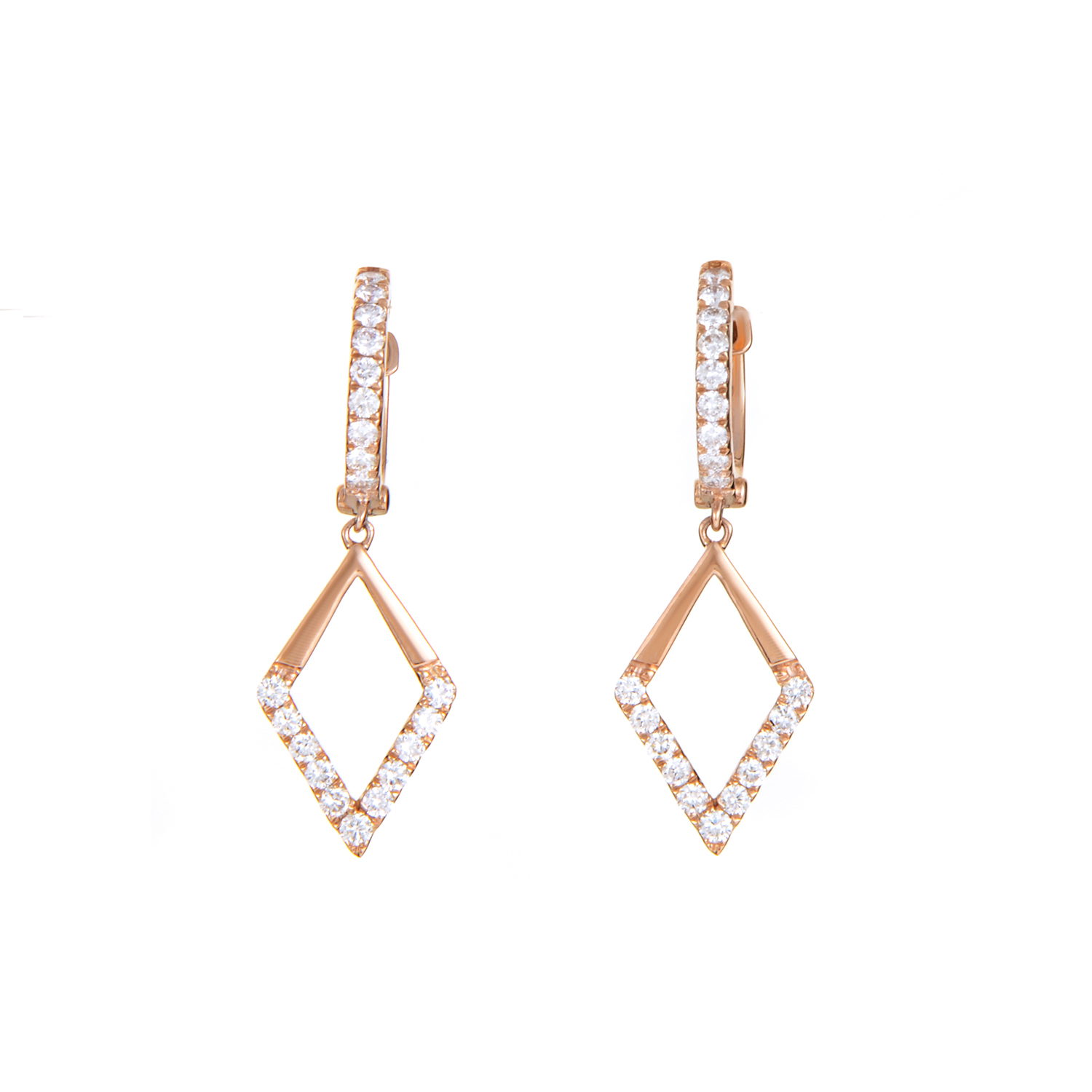 Women's 18K Rose Gold Diamond Triangle Earrings AER-11109R