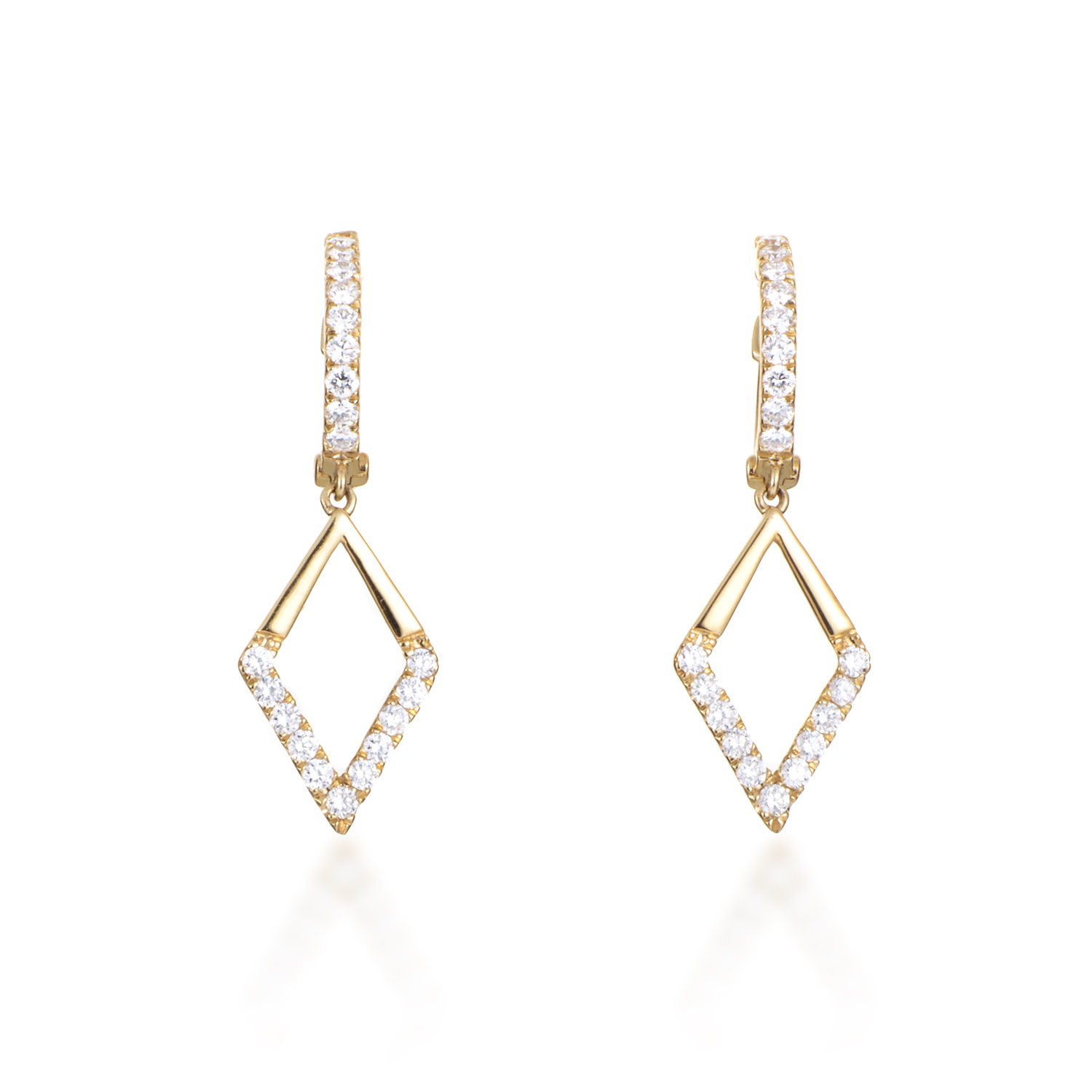 Women's 18K Yellow Gold Partial Pave Diamond Dangle Earrings AER-11109Y