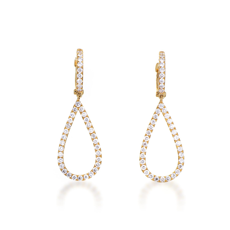 Women's 18K Yellow Gold Diamond Pave Teardrop Dangle Earrings AER-11118Y
