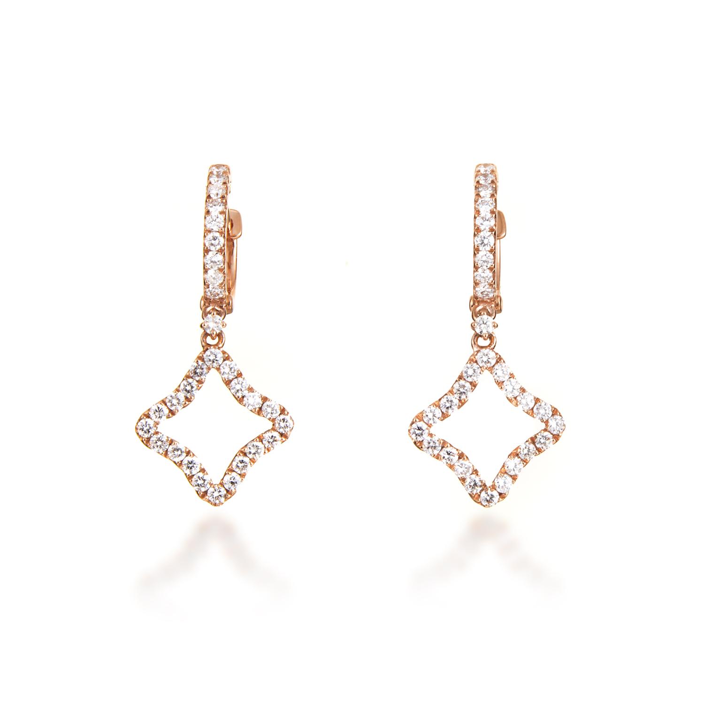Women's 18K Rose Gold Diamond Pave Dangling Star Earrings AER-11137R