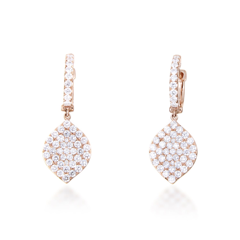 Women's 18K Rose Gold Diamond Pave Dangling Leaf Earrings AER-11151R