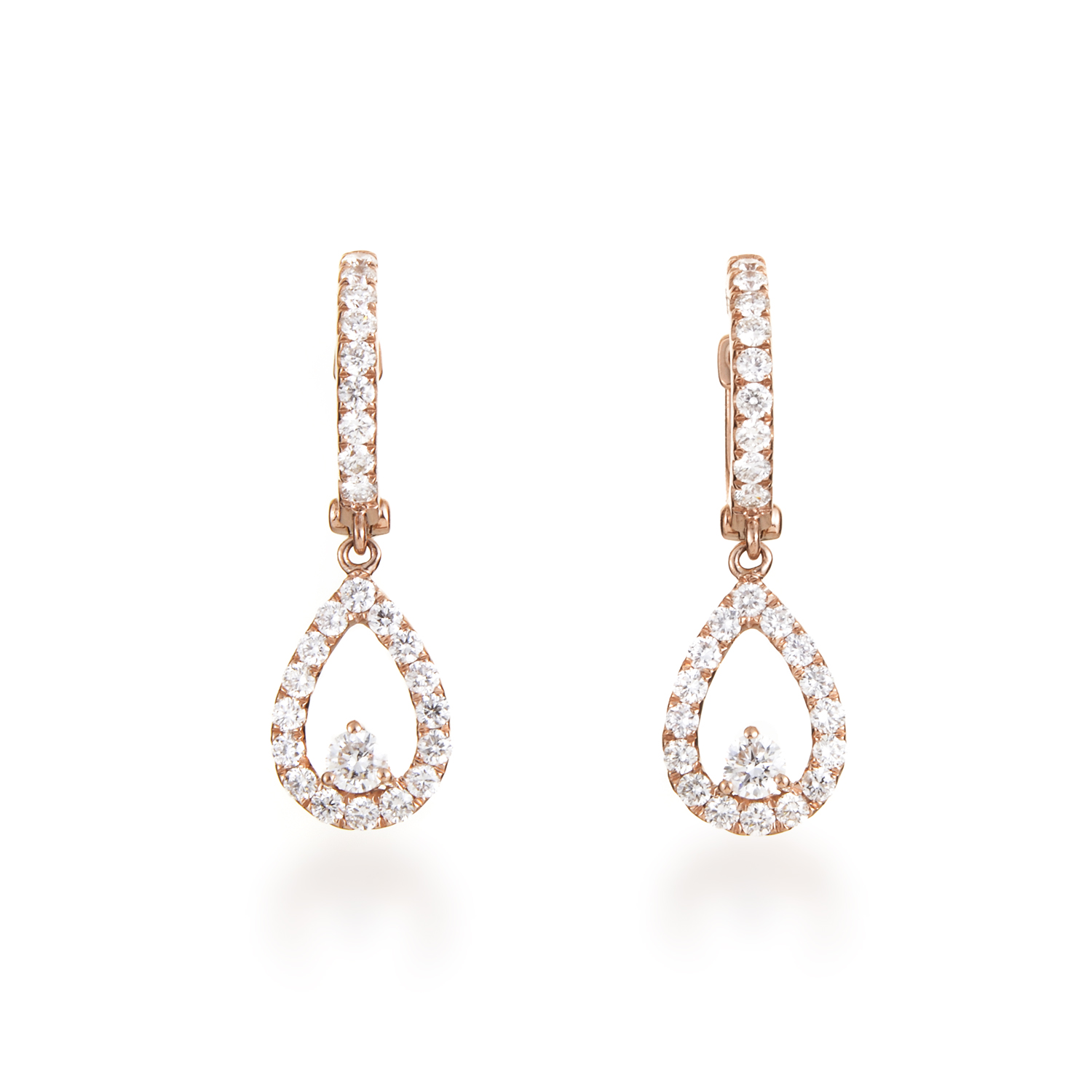 Women's 18K Rose Gold Diamond Pave Teardrop Dangle Earrings AER-11157R