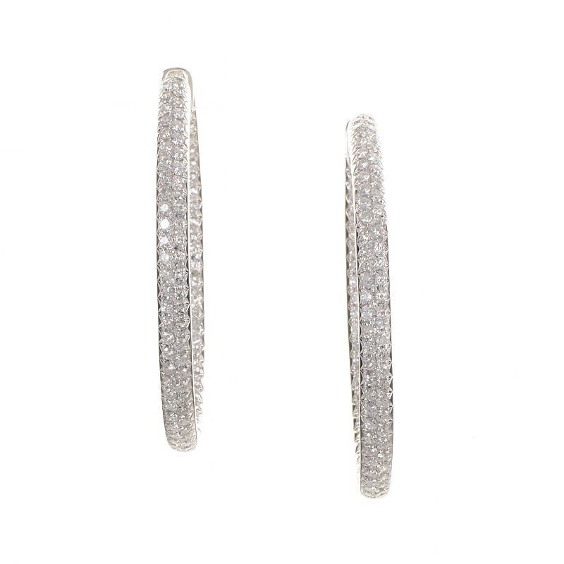 White Gold Filigree Hoop Earrings White Gold Diamond Hoop