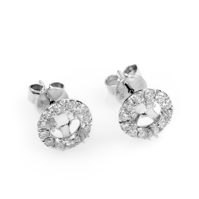 18K White Gold Diamond Mounting Stud Earrings AER-2920W