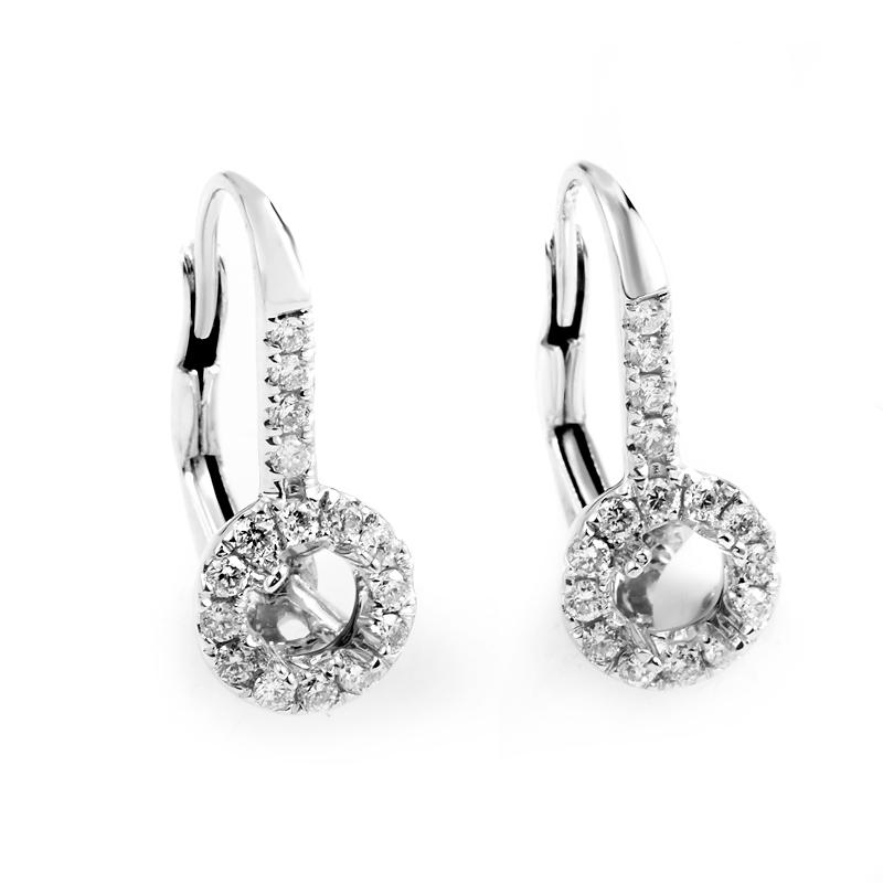 18K White Gold Diamond Dangle Mounting Earrings AER-3886W