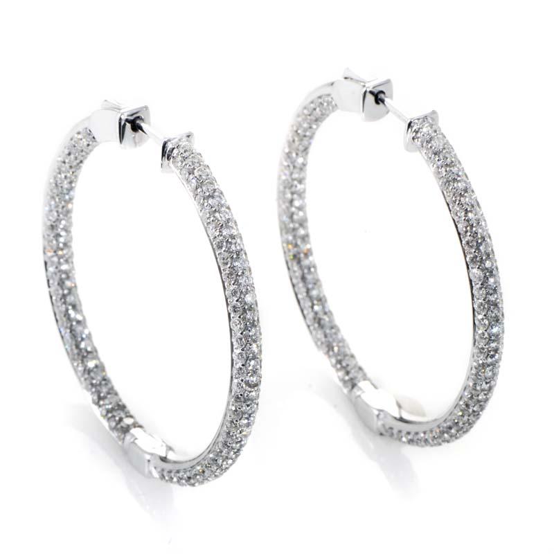 Thin 18K White Gold Diamond Pave Hoop Earrings AER-6752W