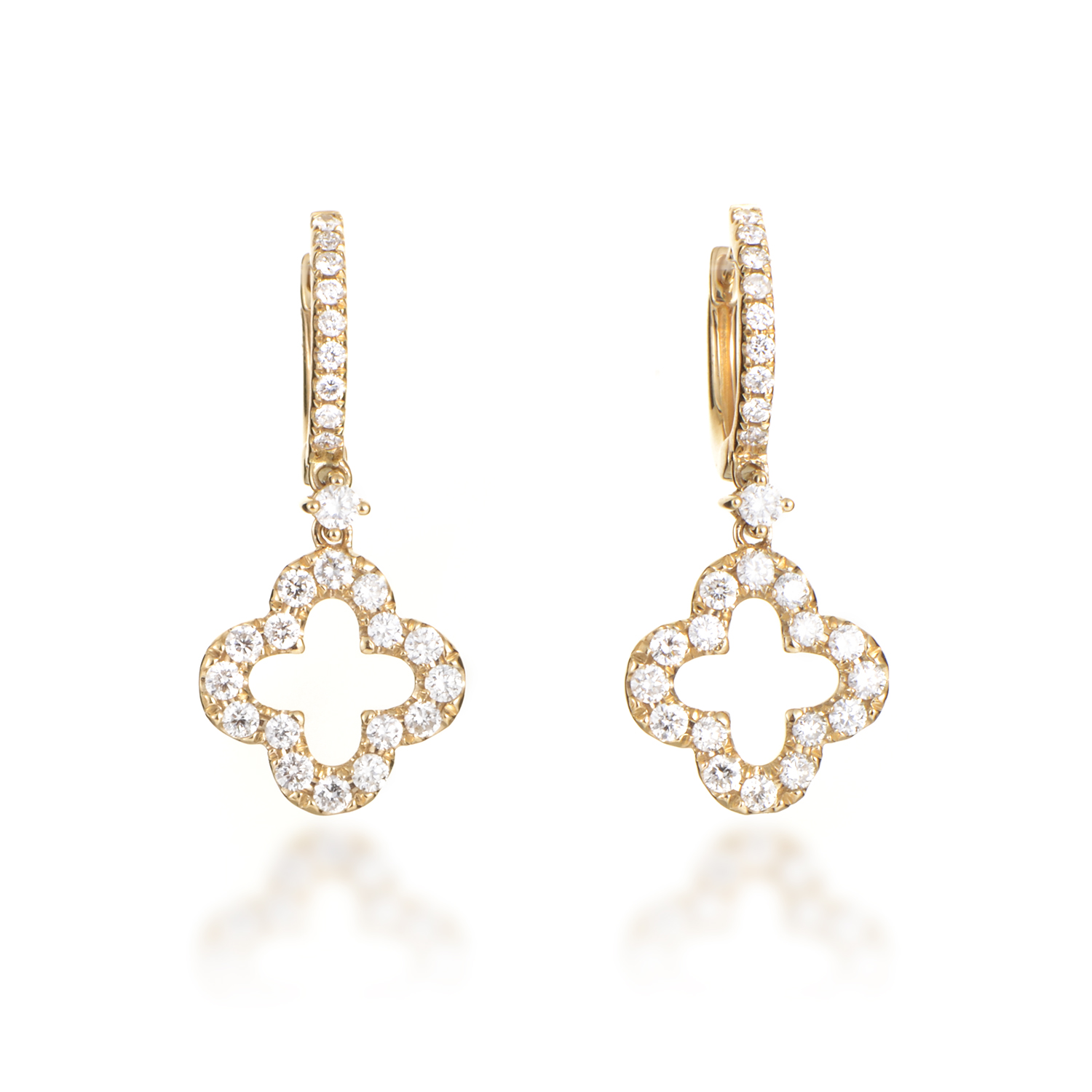 Women's 18K Yellow Gold Diamond Pave Quatrefoil Dangle Earrings