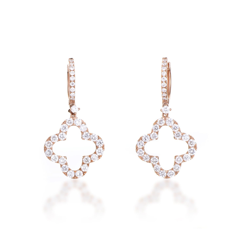 Women's 18K Rose Gold Diamond Pave Quatrefoil Dangle Earrings AER-8875R