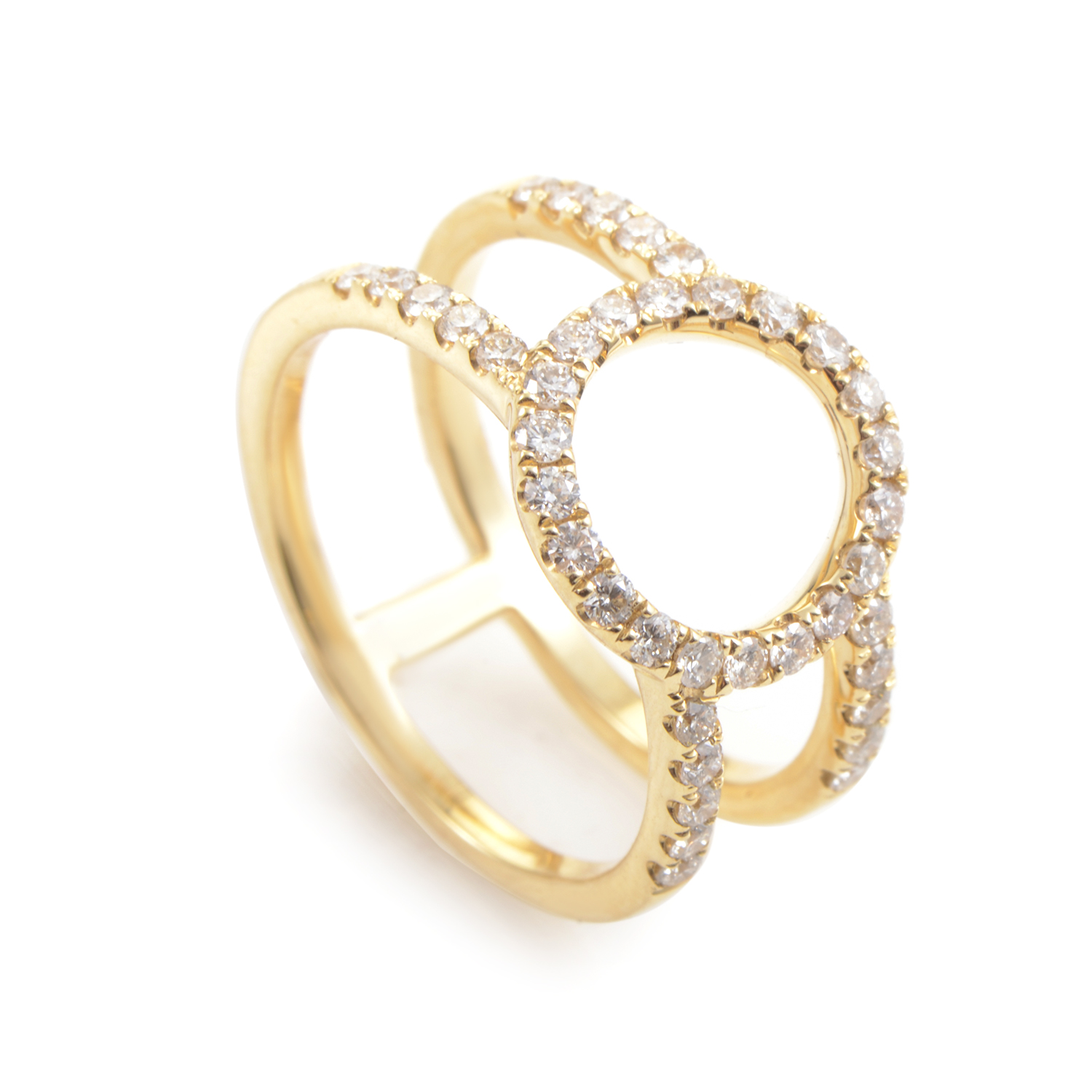 18K Yellow Gold Diamond Openwork Band Ring ALR-11170Y