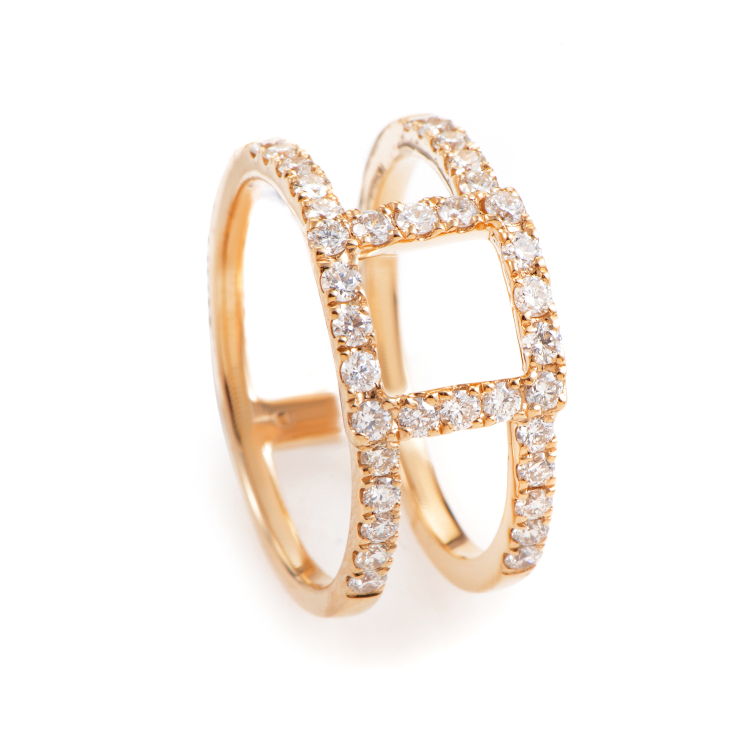 18K Rose Gold Openwork Diamond Band Ring ALR-11229R