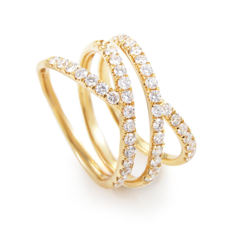 Crisscross Women's 18K Yellow Gold Diamond Band Ring ALR-11247Y