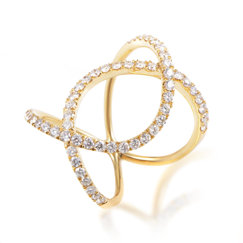 Women's 18K Yellow Gold & Diamond Openwork Band Ring