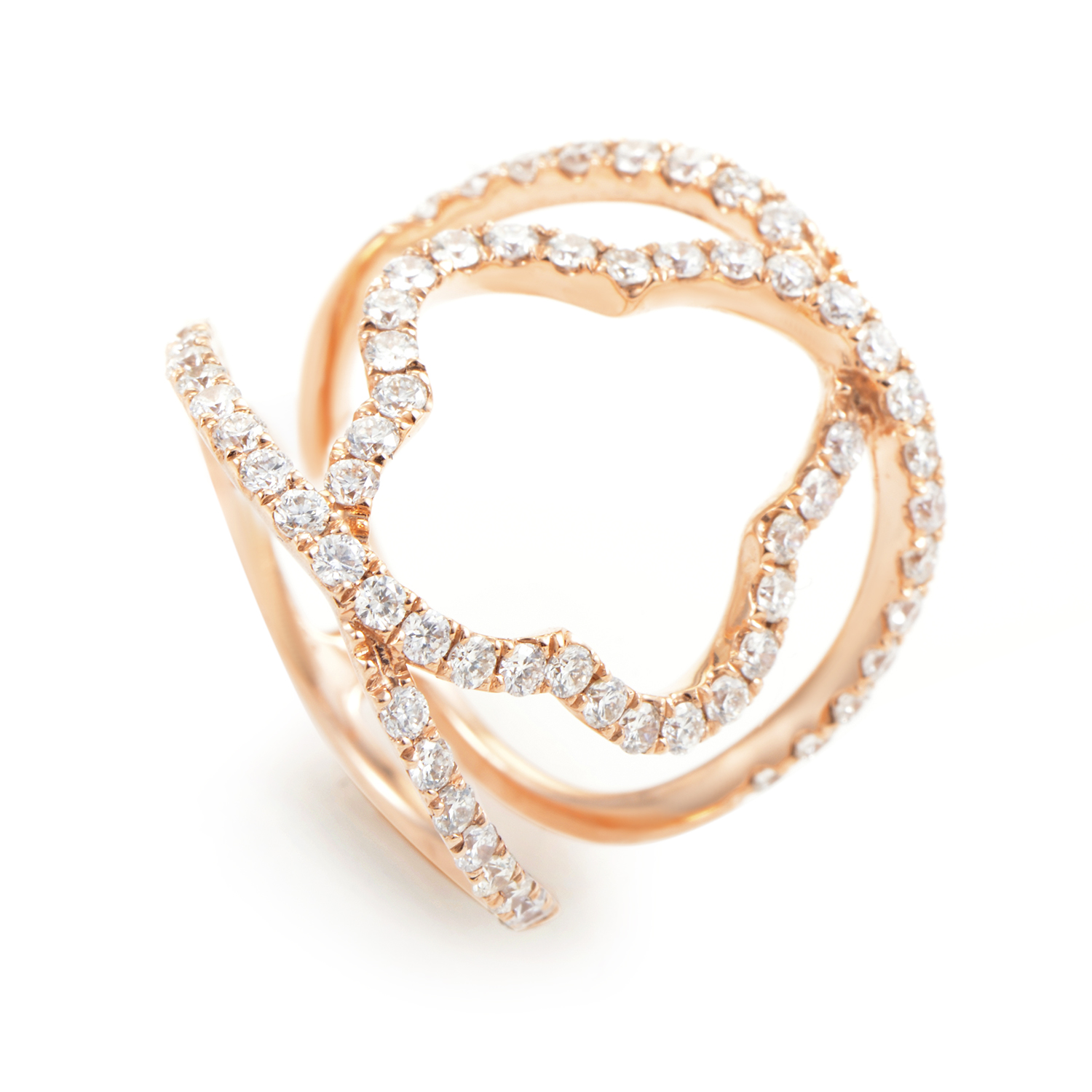 18K Rose Gold & Diamond Quatrefoil Ring ALR-11751R