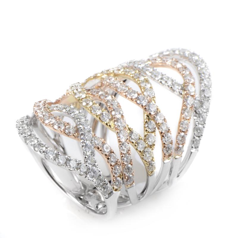 18K Multi Gold Openwork Diamond Band Ring ALR-7912WYR