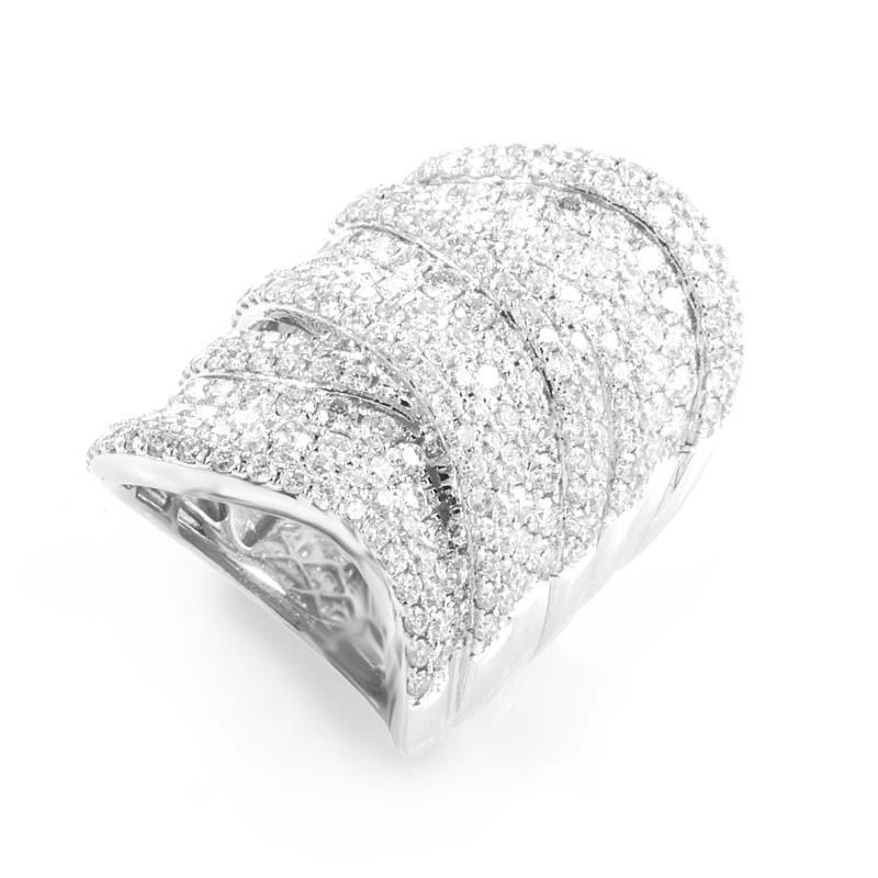 18K White Gold Diamond Pave Band Ring ALR-9071W