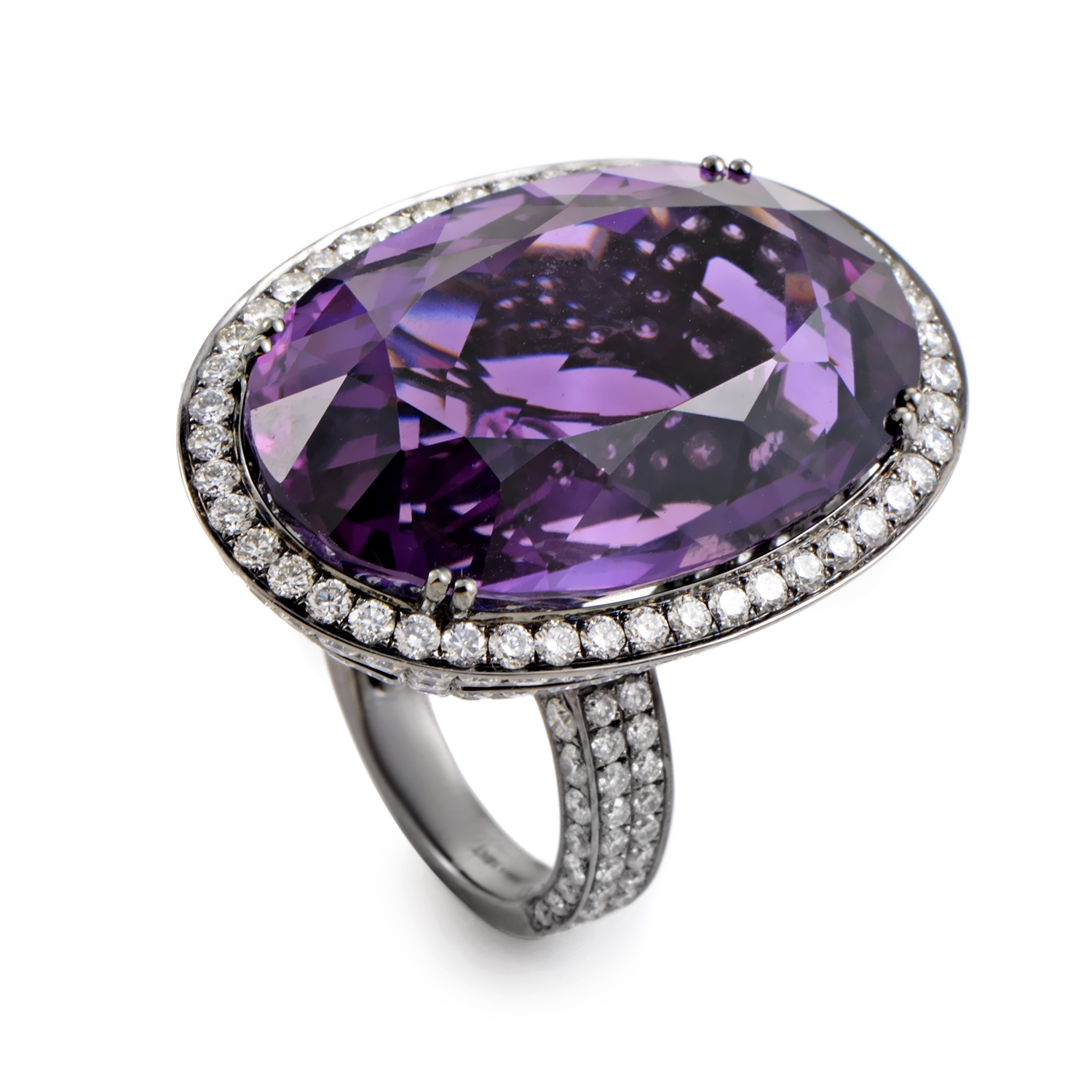 18K White Gold Amethyst & Diamond Cocktail Ring AN68382