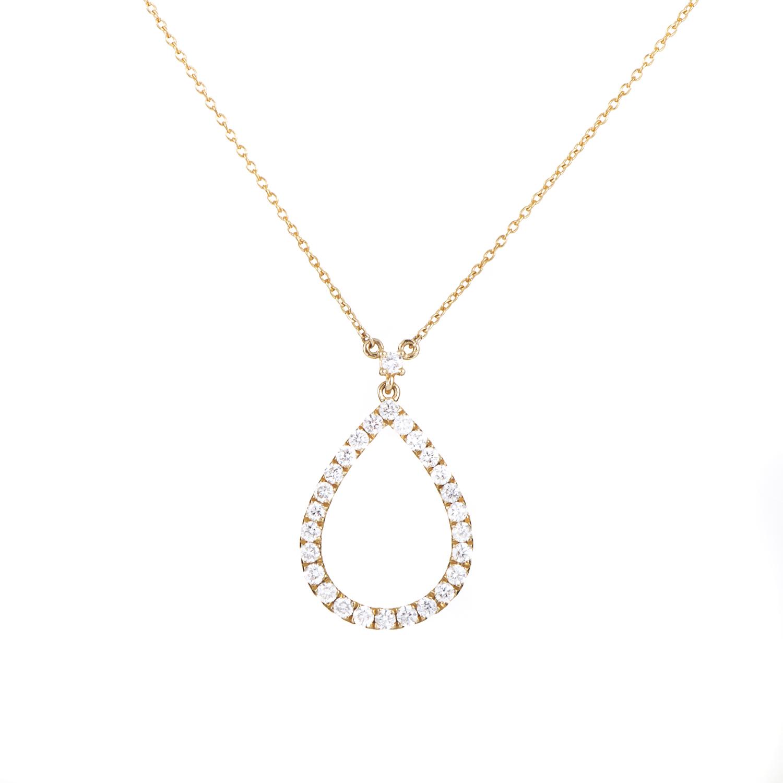 Women's 18K Yellow Gold Diamond Teardrop Pendant Necklace