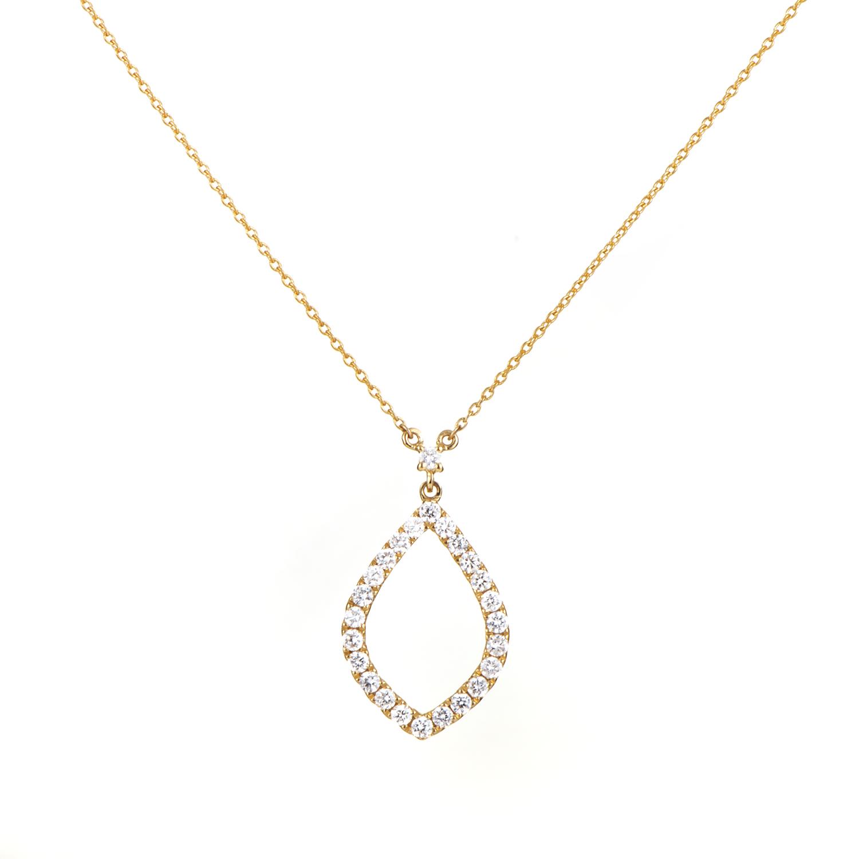Women's 18K Yellow Gold Diamond Almond Pendant Necklace
