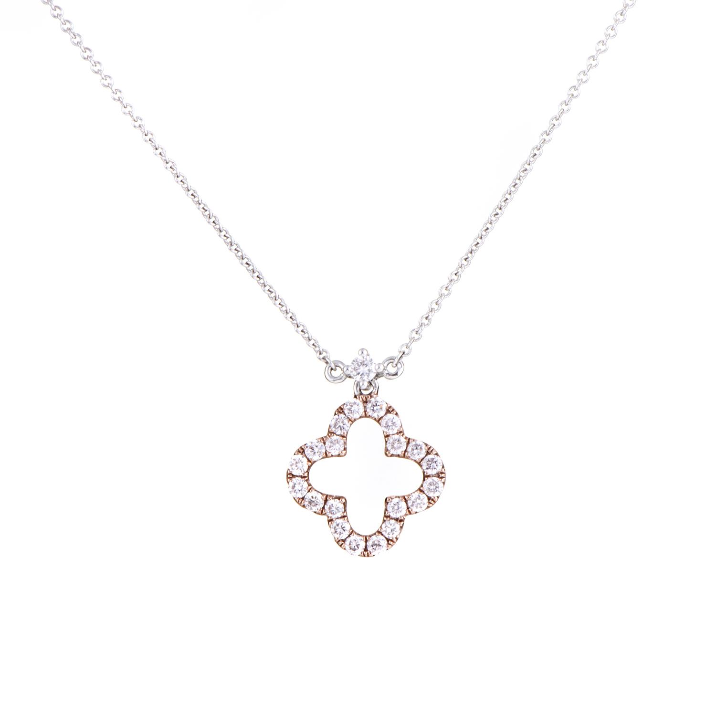 Women's 18K White & Rose Gold Diamond Quatrefoil Pendant Necklace