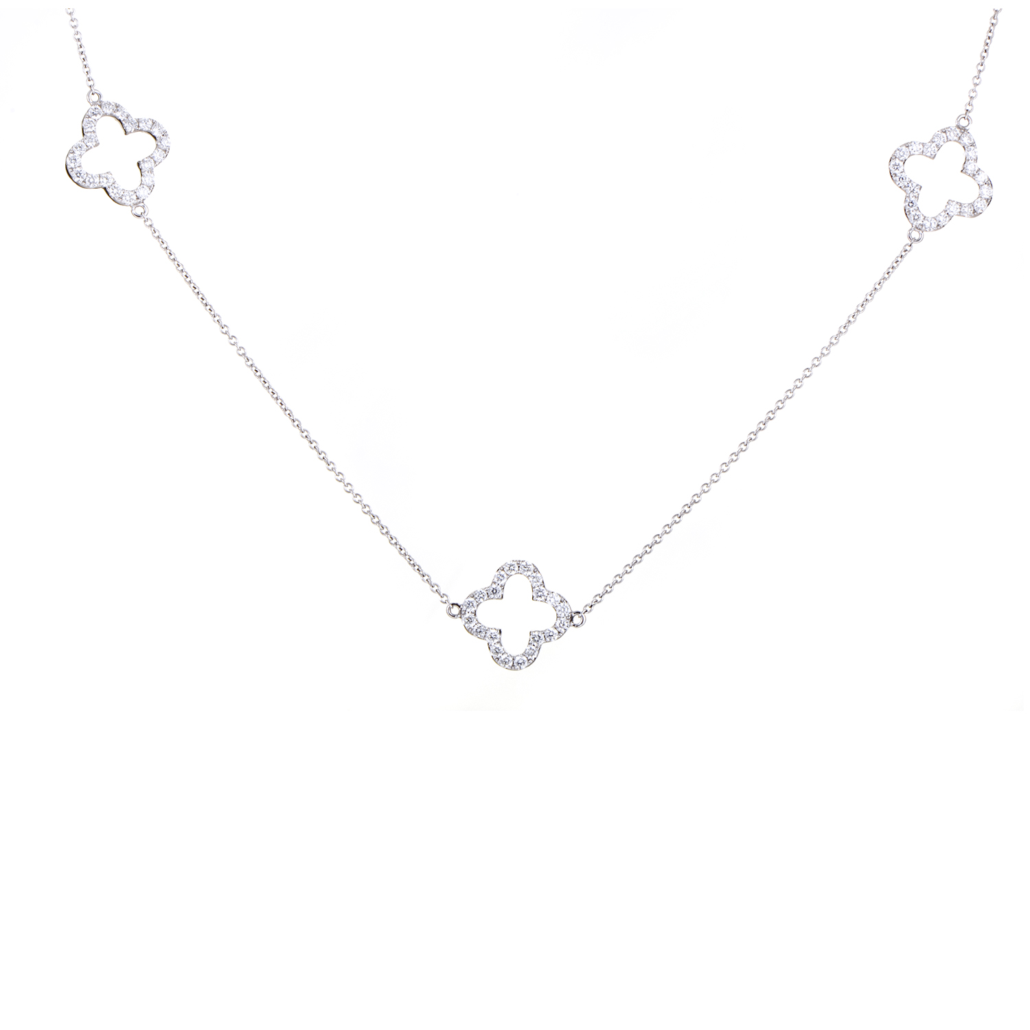 Women's 18K White Gold & Diamond Quatrefoil Sautoir Necklace