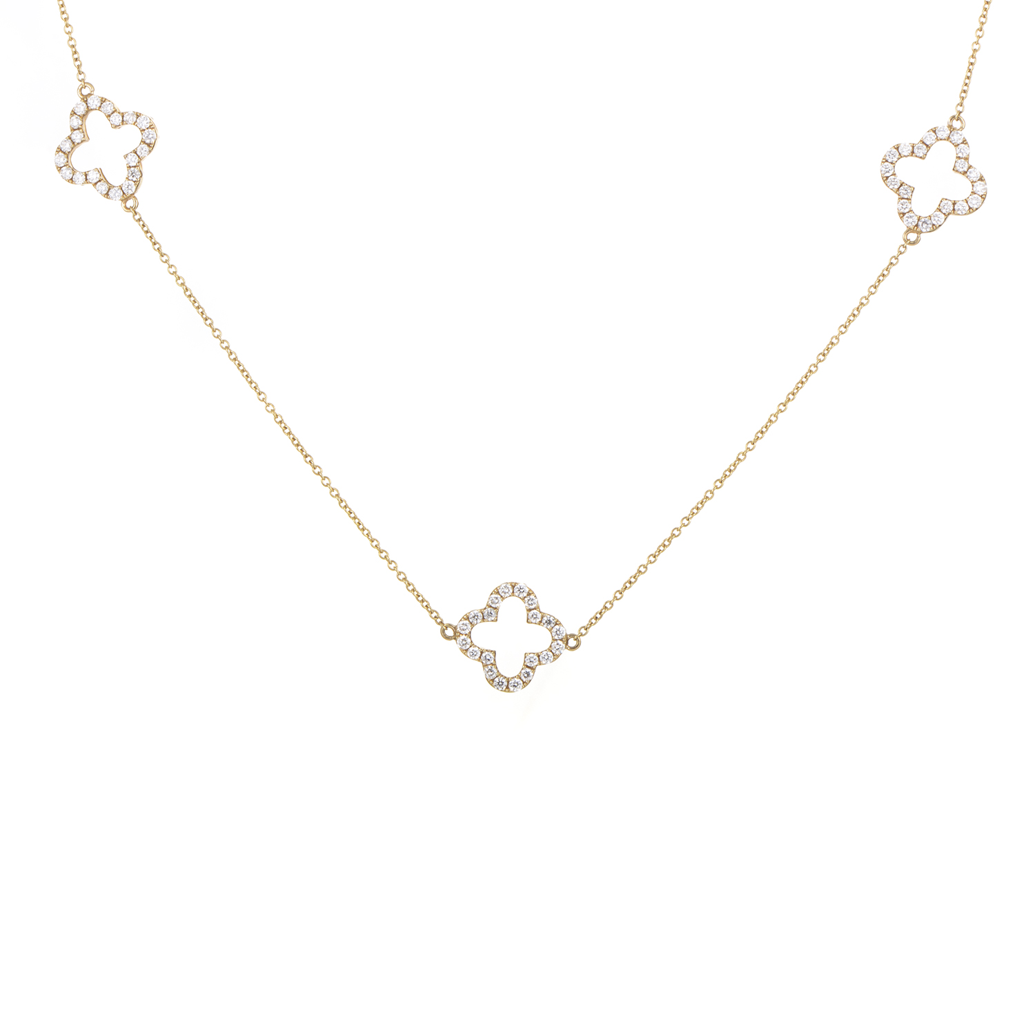 Women's 18K Yellow Gold & Diamond Quatrefoil Sautoir Necklace
