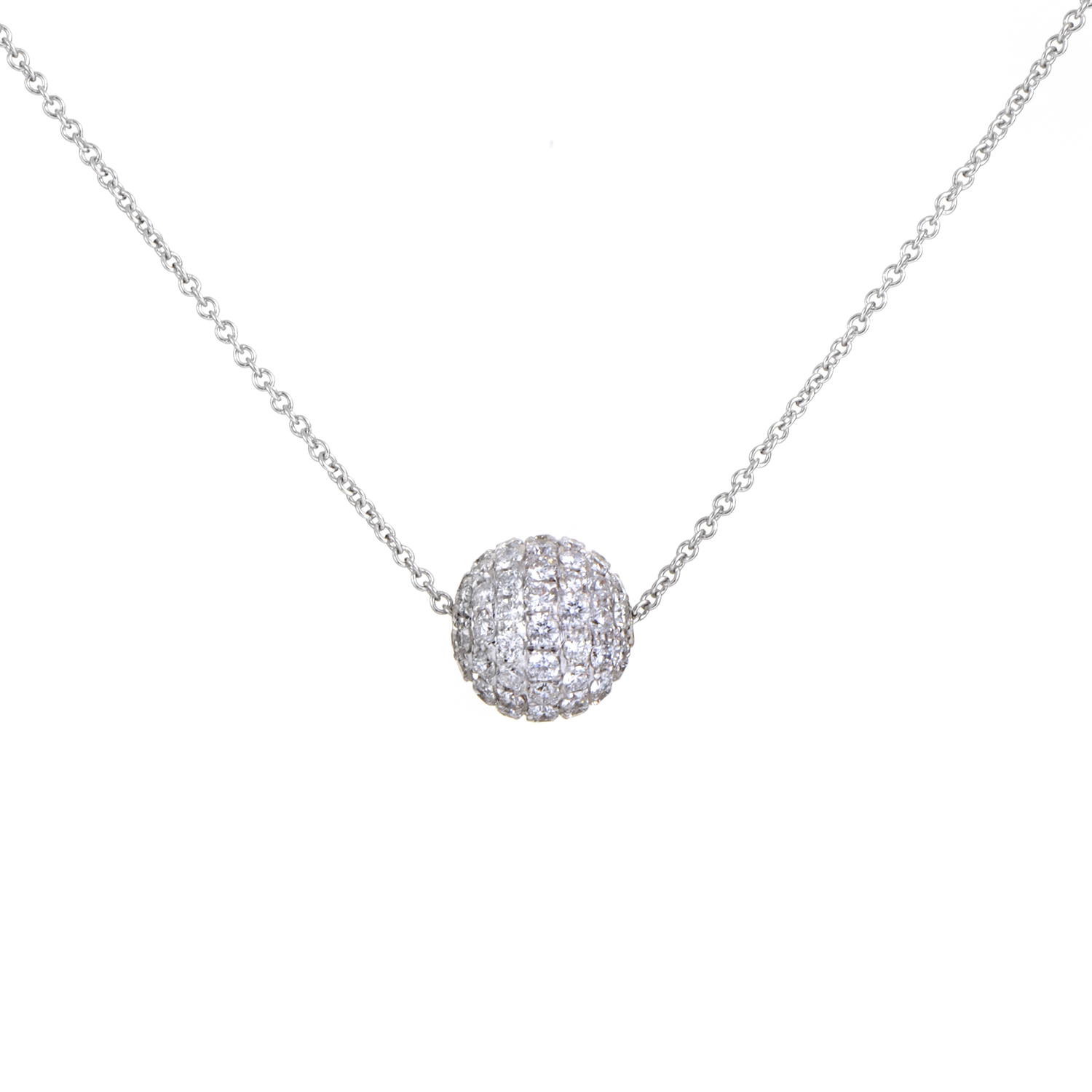 Women's 18K White Gold Petite Diamond Pave Sphere Pendant Necklace