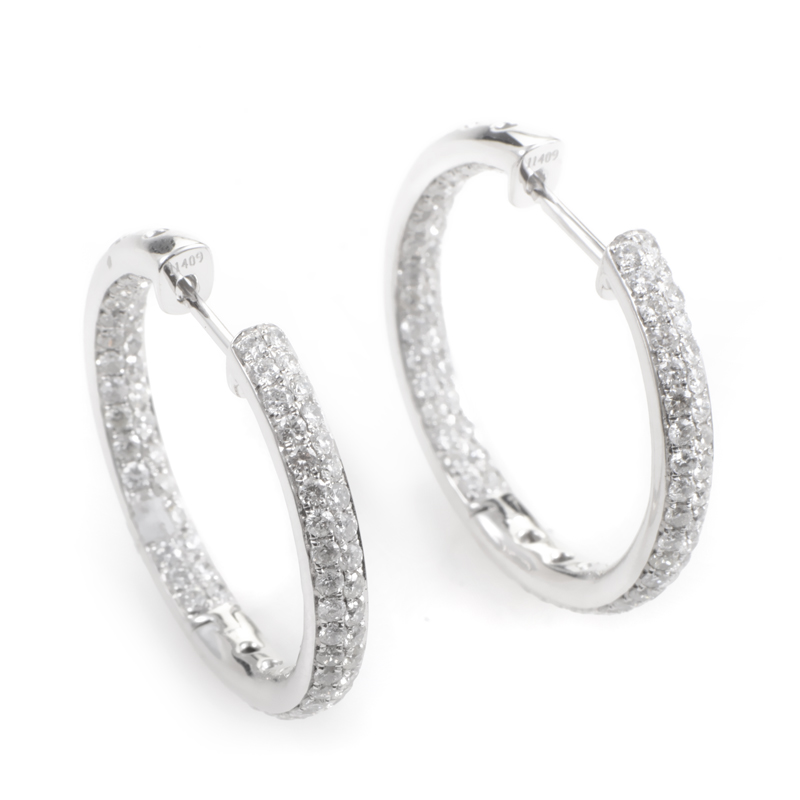 18K White Gold Diamond Pave Hoop Earrings E11806W