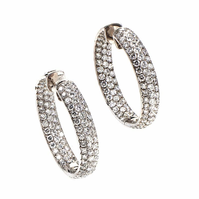 18K White Gold Diamond Pave Hoop Earrings ED-9617W