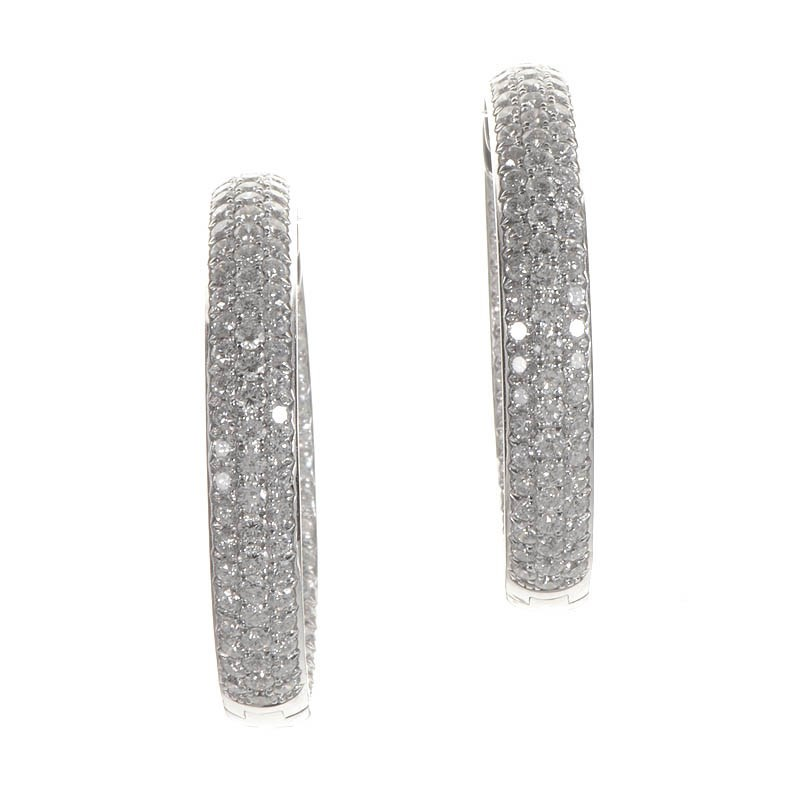 18K White Gold Diamond Pave Hoop Earrings ED-9619W