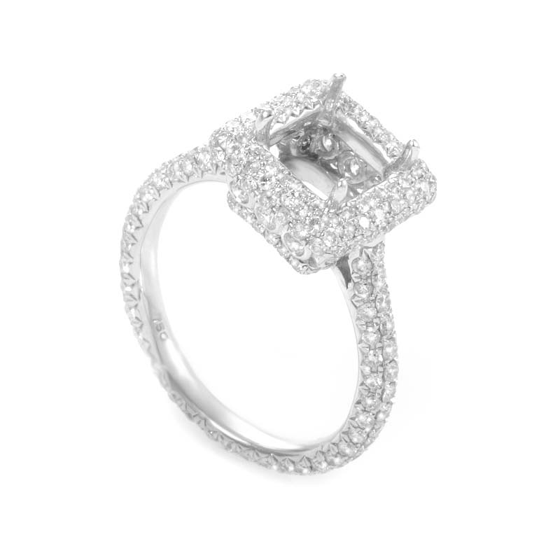 18K White Gold Diamond Pave Engagement Ring Mounting ED-9746W