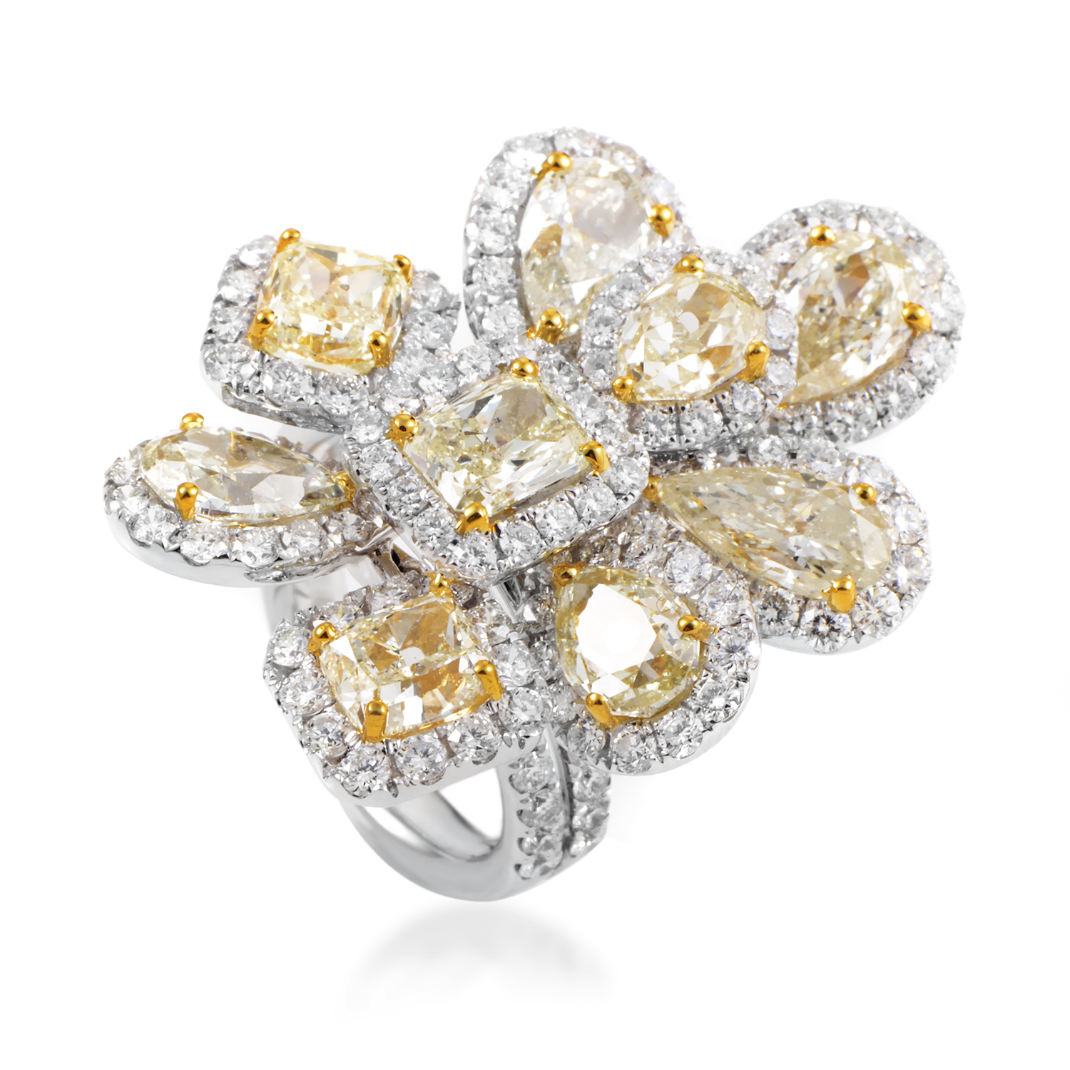 Women's 18K Multi-Tone Gold Diamond Cluster Cocktail Ring