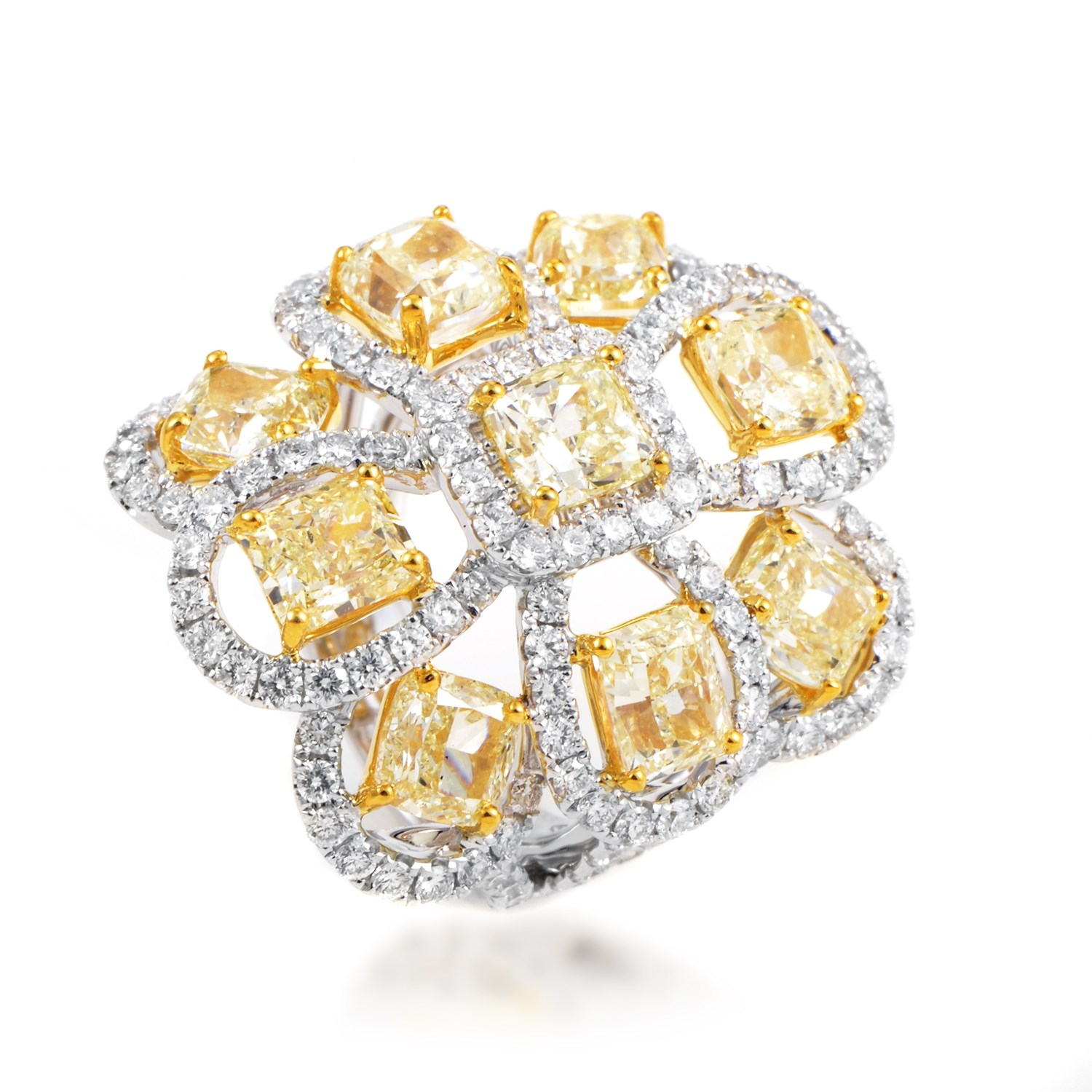 Women's 18K Multi-Tone Gold Diamond Cocktail Ring