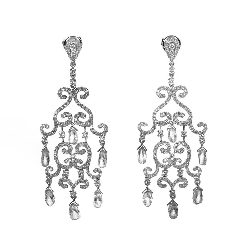 18K White Gold Diamond Chandelier Earrings TRE-0020W