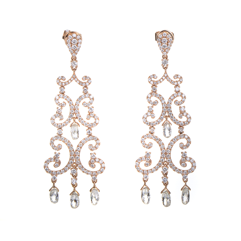 18K Rose Gold Diamond Chandelier Earrings TRE-0024R