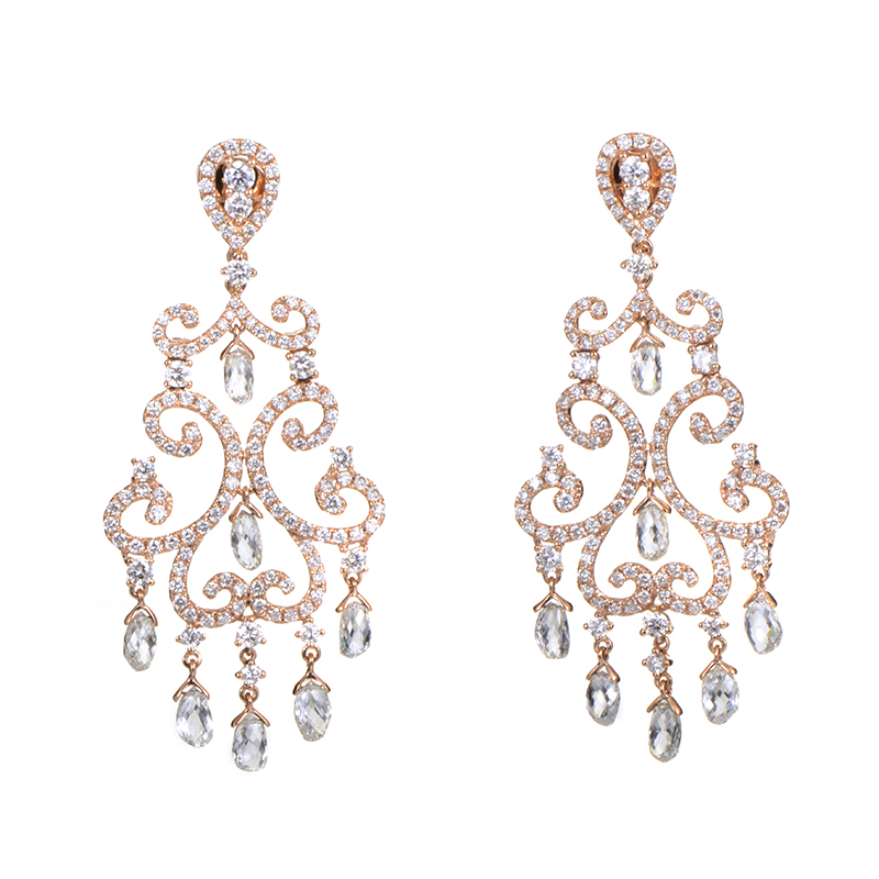 18K Rose Gold Diamond Chandelier Earrings TRE-0026R