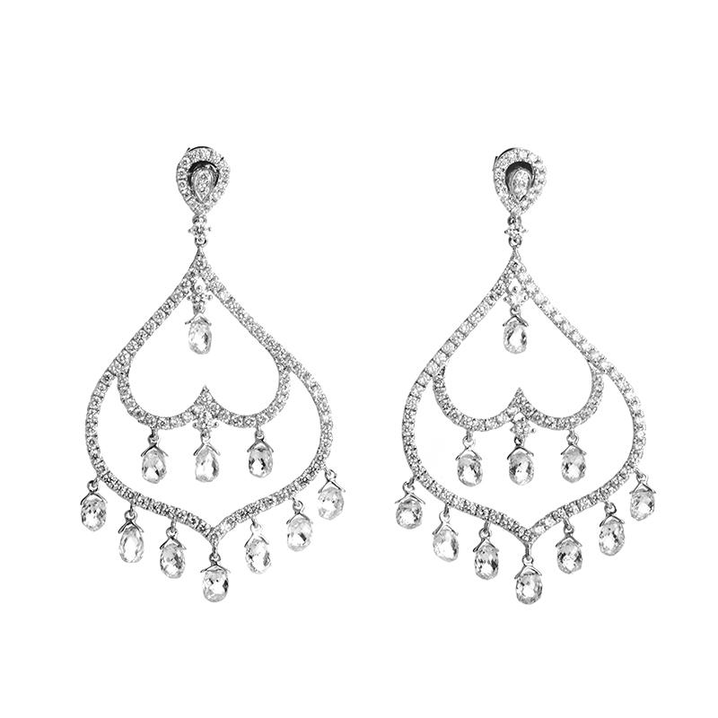 18K White Gold Diamond Chandelier Earrings TRE-0030W