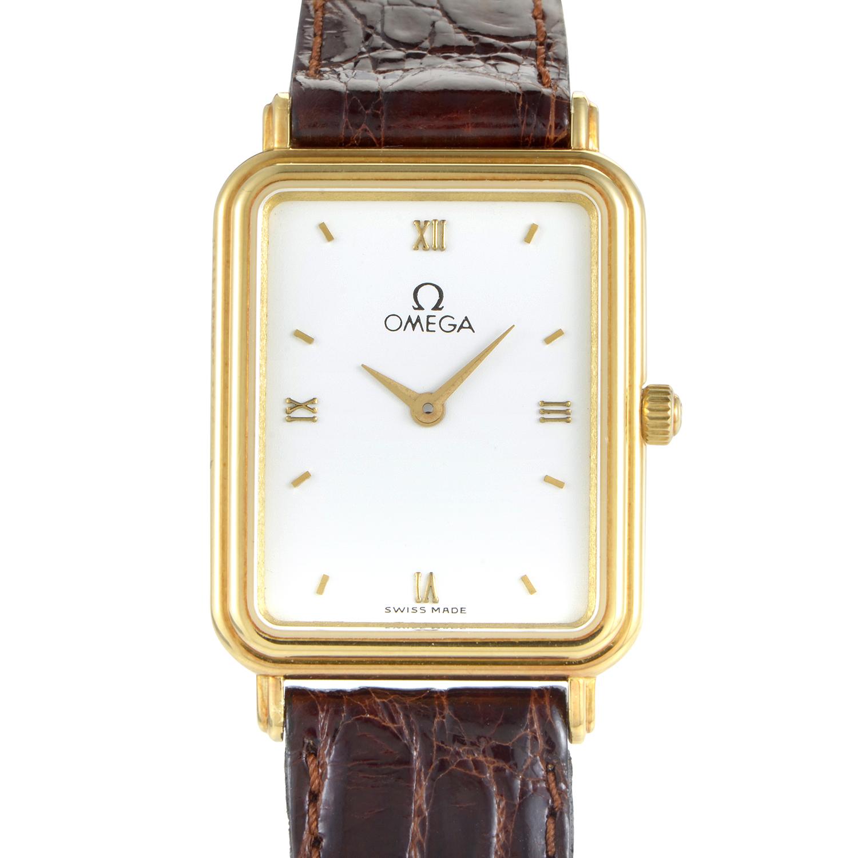 Omega Women's Rectangular 18K Yellow Gold Quartz Watch BA595407BZ06