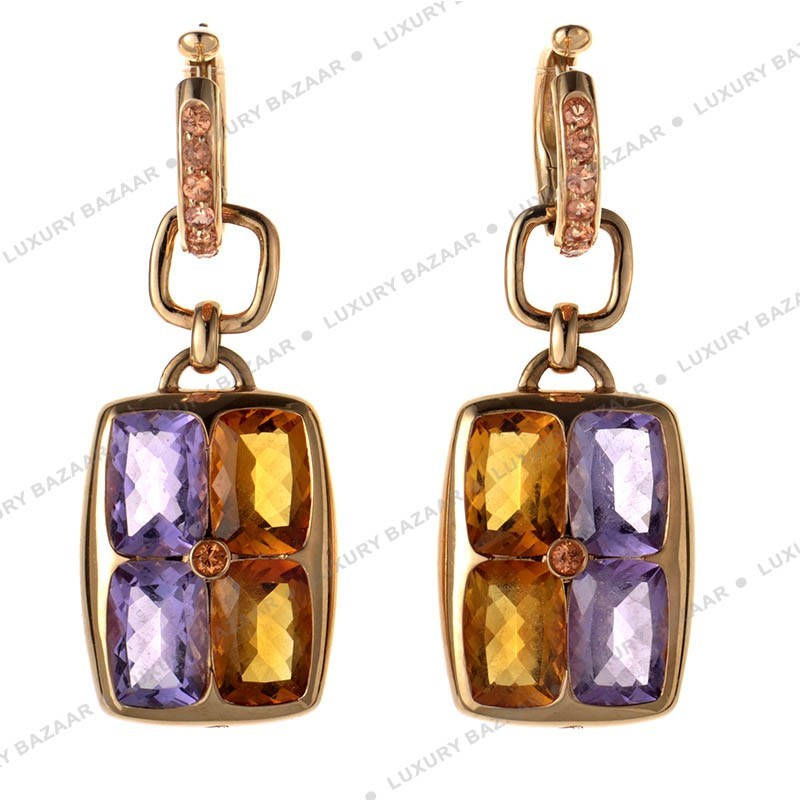 Canouan 18K Rose Gold Amethyst and Citrine Earrings